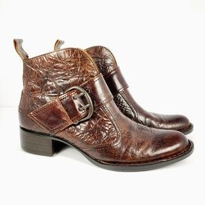 BORN CROWN Women Ankle Booties Brown Leather sz6.5